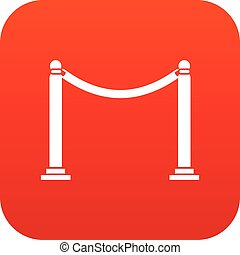 Decorative poles with tape icon digital red
