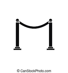 Decorative poles with tape icon, simple style