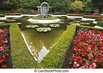 Decorative pond with a fountain