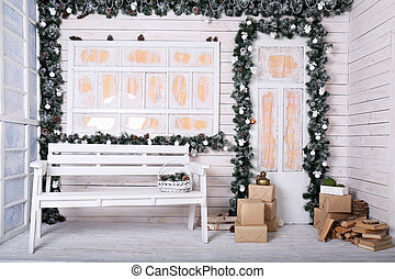 Decorative porch with Christmas decoration