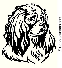Decorative portrait of Dog Cavalier King Charles Spaniel...