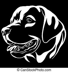 Decorative portrait of dog Labrador Retriever, vector isolated illustration in black color on white background