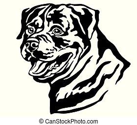 Decorative portrait of Dog Rottweiler vector illustration