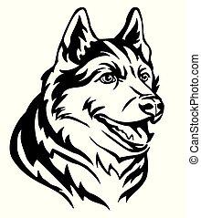 Decorative portrait of Dog Siberian Husky vector illustration