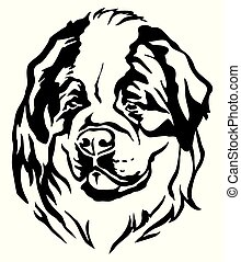 Decorative portrait of Dog St. Bernard vector illustration -...