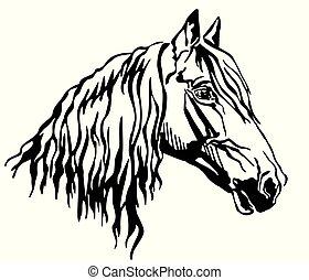 Decorative portrait of Orlov Trotter horse vector...