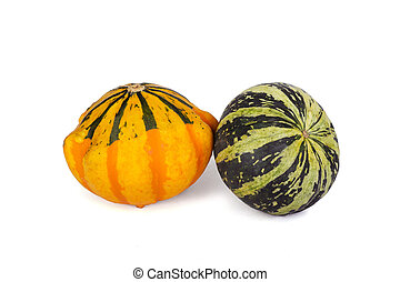 Decorative pumpkins isolated on a white background