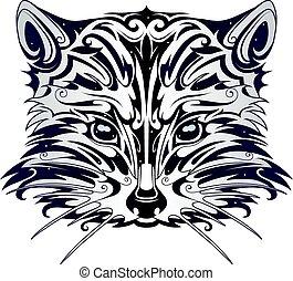 Decorative racoon head tattoo