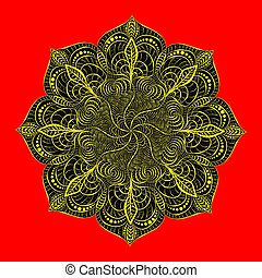 Decorative radial ornament in the form of a mandala