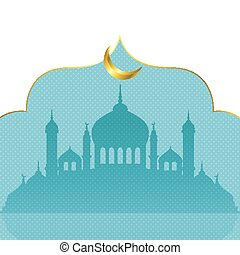 Decorative background for Ramadan Kareem with mosques silhouette and crescent