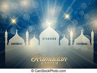 Decorative Ramadan Kareem background with mosque silhouette of starburst design