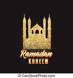 Decorative Ramadan Kareem background with glitter mosque