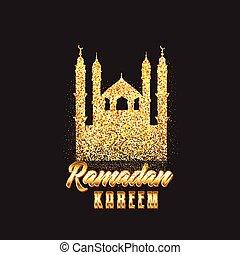 Decorative Ramadan Kareem background with glitter mosque
