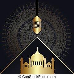 decorative ramadan kareem background with mosques and hanging lantern 1203