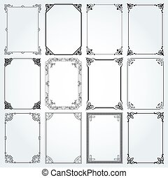 Decorative rectangle frames and borders set 2 vector -...