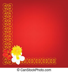 Decorative red background with flower