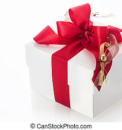 Decorative red bow on a gift box