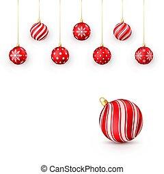 Decorative red Christmas balls set. Vector illustration isolated on white background