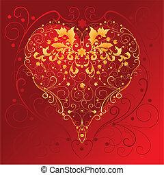 Decorative Red Heart, editable vector illustration