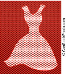 A decorative polka dot picture of a dress shape.