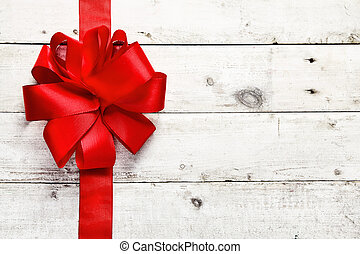 Decorative red ribbon and bow