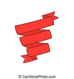 Decorative red ribbon icon, cartoon style