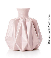 Decorative ribbed vase of pink color on a white background.