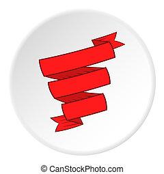 Decorative ribbon icon, cartoon style