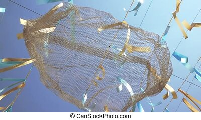 Decorative ribbons on a wire - On the wire hang yellow-blue...