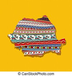 Map of Romania covered in ethnic textures, decorative vector map