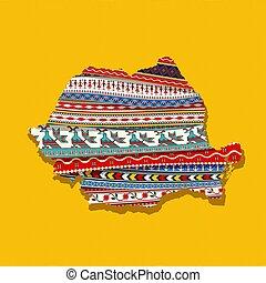 Decorative Romania map - Map of Romania covered in ethnic...