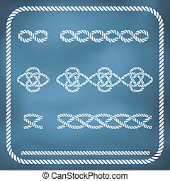 Decorative rope knots - Decorative seamless nautical rope...