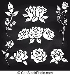 Decorative roses on chalkboard