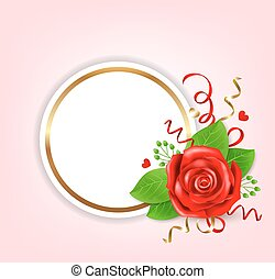 Decorative round banner with red rose