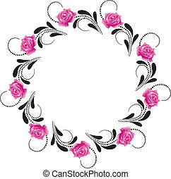 Decorative round frame with pink roses