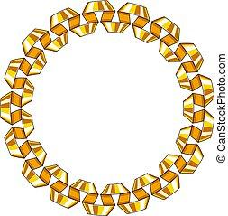 Decorative round frame of golden spiral ribbon. Vector
