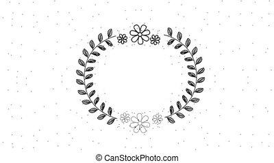 decorative round ornament branch laurel flowers animation hd
