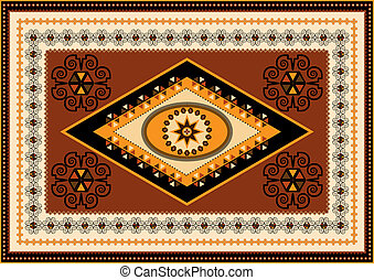 Oriental design for the rug and the ornamental details for the frame.