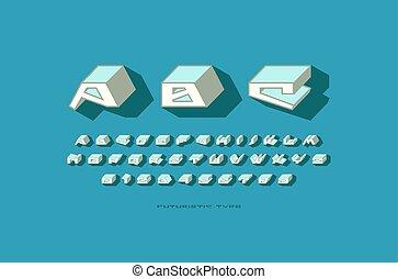 Decorative sans serif bulk font in futuristic style