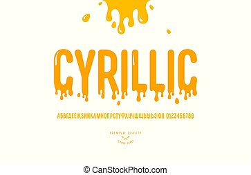 Decorative sans serif font. Cyrillic letters and numbers for honey logo and label design