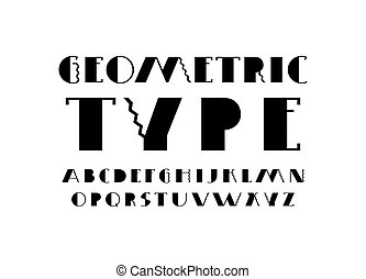 Decorative sans serif font. Letters for logo and title design. Black print on white background