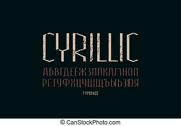 Decorative sans serif font. Thin line typeface. Cyrillic letters with vintage texture for logo and title design. Color print on black background