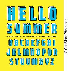 Decorative sanserif bulk font. Typeface in the style of hand-drawn graphics. Color print on yellow background