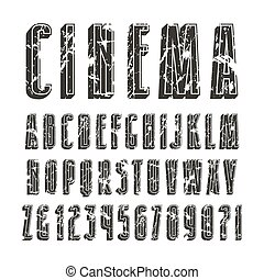 Decorative sanserif font with effect of volume