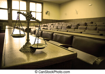 Decorative Scales of Justice in the Courtroom - Symbol of ...