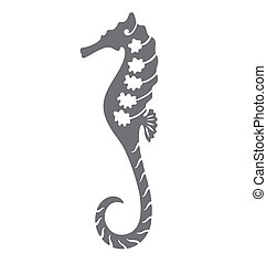A sea horse illustrated with tattoo style with organic decoration inside the body.