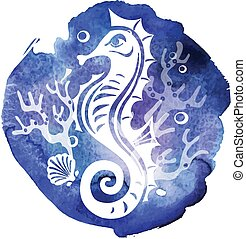 Decorative Seahorse on watercolor texture background