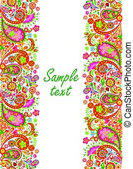 Decorative seamless border with colorful abstract flowers print on black background