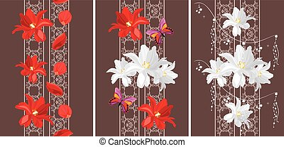 Decorative seamless borders with white and red tulips....