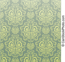 Decorative seamless floral ornament - Vector gray green and...
